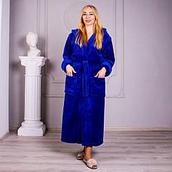 Длинный женский махровый халат синего цвета, размер S -4XL