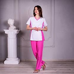 Женский медицинский костюм с V - образным вырезом Арина белый с розовыми брюками