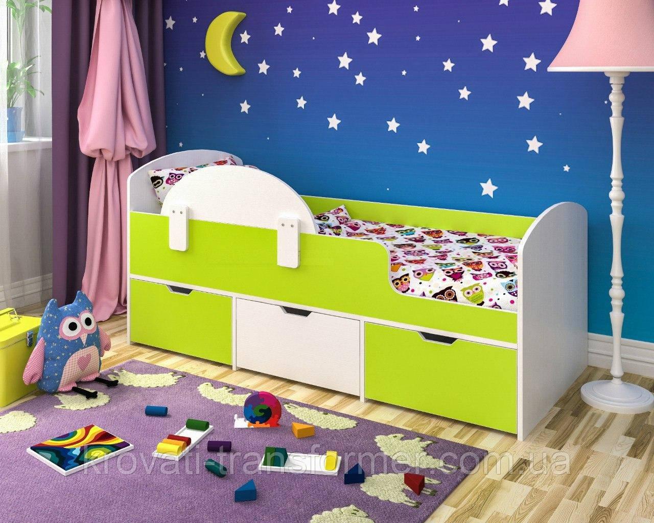 """Кровать """"Малыш"""" белый + лайм"""