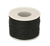 Шнур вощеный, 1 мм, черный, 1 м