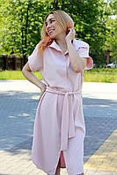 Светлое летнее платье-рубашка в офисном стиле