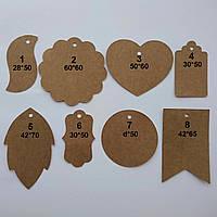 Декор из экокрафт картона, бирки из картона, крафт этикетки, бирки, фото 1