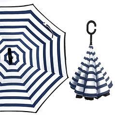 Механічний парасольку навпаки Up-Brella Синьо-білі смуги розкладний розумний парасольку зворотного складання
