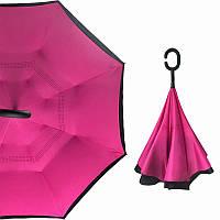 Зонт обратного сложения Up-Brella Розово-Красный ветрозащитный антизонт трость механический