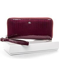 Женский кожаный кошелек-клатч бордовый с ремешком, фото 1