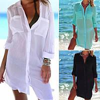 Жіноча стильна пляжна туніка з довгим рукавом, фото 1