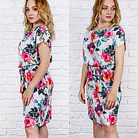 Красивое летнее платье в розы, большие размеры 44,46, 48, 50 ,52, от производителя