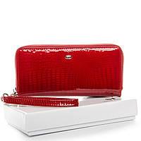Женский кожаный кошелек-клатч красный с ремешком, фото 1