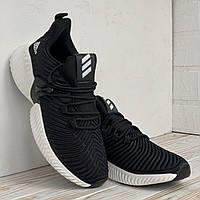 Классный кроссы Adidas Alphabounce Мужские кроссовки черные с белым на лето Адидас Альфа Боунс
