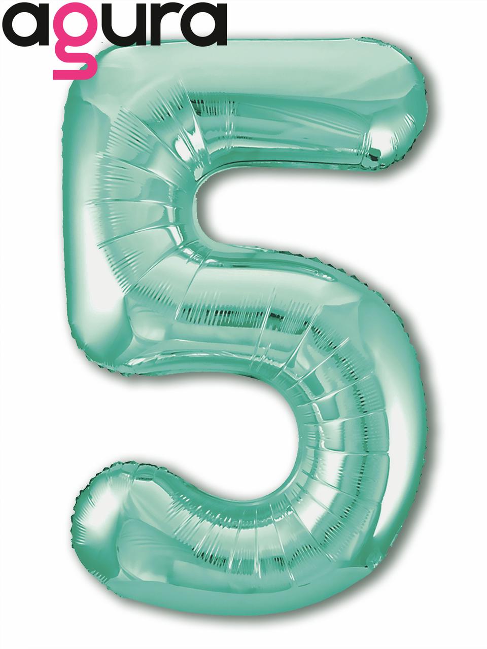 Фольгированная цифра 5 (40') Agura Slim бискайский зеленый в упаковке, 102 см