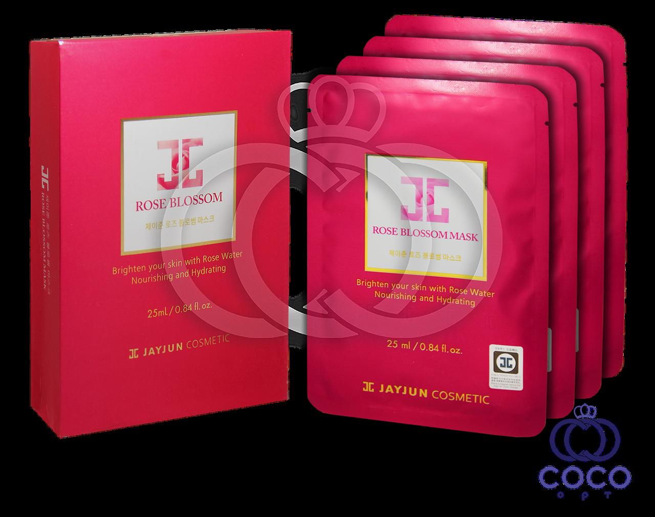 Корейская тканевая смягчающая маска JayJun Rose Blossom с розовой водой (10 штук)