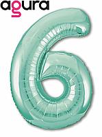 Фольгированная цифра 6 (40') Agura Slim бискайский зеленый в упаковке, 102 см
