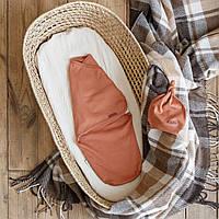"""Пеленка кокон на липучках + шапочка """"Merely"""" (кирпичный) Размеры 0-3 и 3-6  мес., фото 1"""