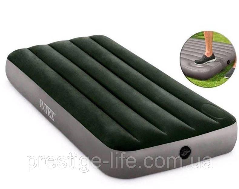 Надувной матрас Intex 64760 (191*76*25 см), с ножным насосом, одноместный