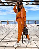Женский стильный спортивный костюм 3ка Ткань - Двухнить, производства Турция Цвета:чёрный, оранжевый, голубой