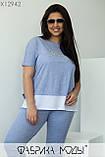 Летний прогулочный костюм голубого цвета  Размеры: 48, 50, 52, 54, 56, фото 2