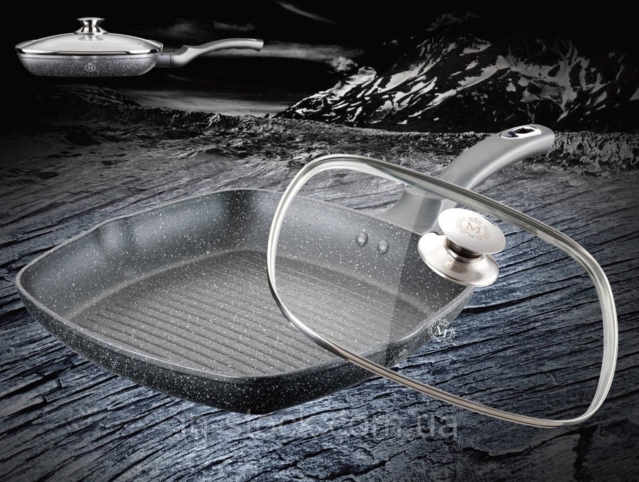 Сковорода гриль з кришкою Meisterklasse MK-1024 grey marble