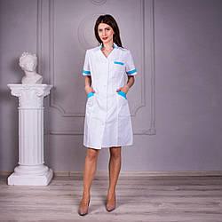 Женский медицинский халат Анна белый с бирюзовыми вставками