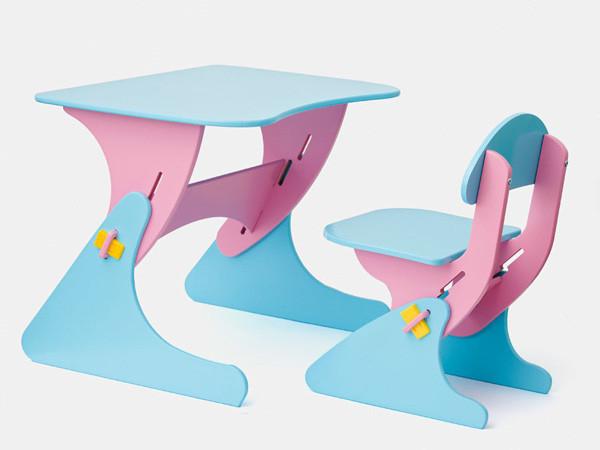 Письменный деревянный стол и стул для ребенка от 2 лет голубо-сиреневый SportBaby