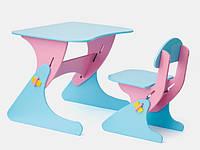 Письменный деревянный стол и стул для ребенка от 2 лет голубо-сиреневый SportBaby, фото 1