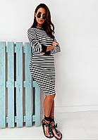 Модное летнее женское платье в полоску, черный