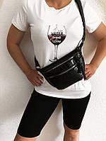 Женский стильный летний спортивный костюм велосипедки + футболка с принтом Ткань вискоза, отлично тянется