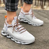 Мужские кроссовки серые сетка MJ 07, фото 1
