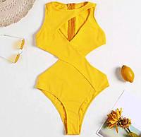 Купальник женский сдельный, желтый, код ММ-2027