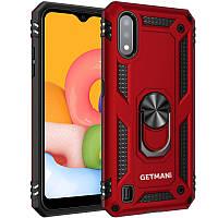 Ударопрочный чехол GETMAN Serge Ring for Magnet для Samsung Galaxy A01 красный