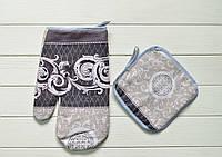 """Кухонный набор рукавичка+прихватка """"Дамасский узор"""", фото 1"""