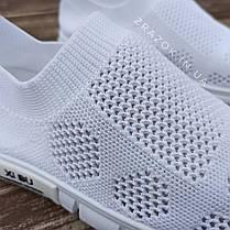 Сліпони білі мокасини літні кросівки сітка текстиль жіночі легкі сліпони білі кросівки сітка арт 685, фото 2