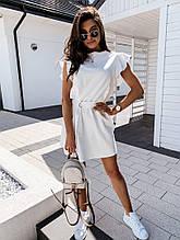 Женское стильное модное летнее мини платье с поясом ткань вискоза лиловое, чёрное, белое