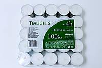 Свеча таблетка чайная 4 часа горения премиум качества BISPOL® 100 шт. pf10-100s