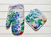 """Кухонный набор рукавичка+прихватка """"Лесные цветы"""", фото 1"""
