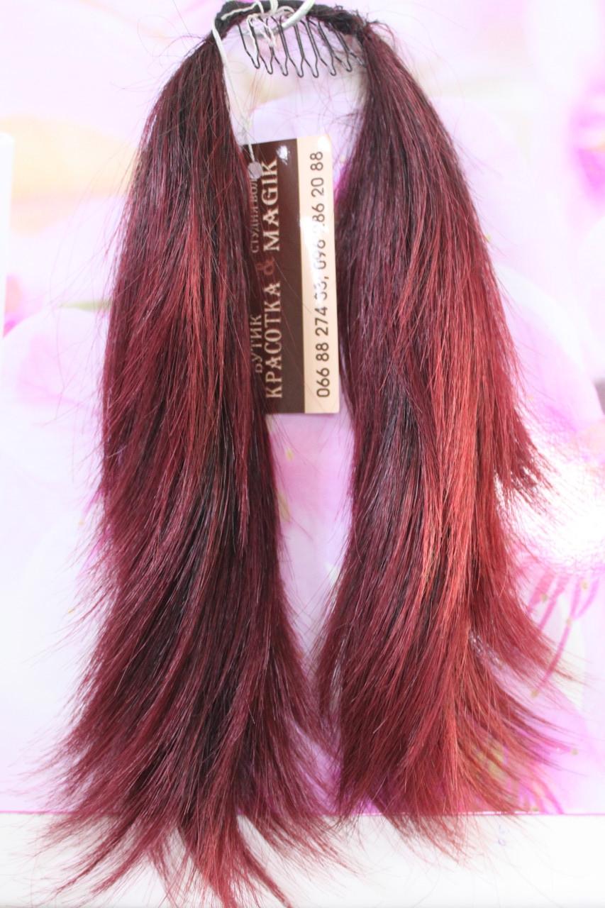 Хвостик на гребешке короткий искусственные волосы вишневый