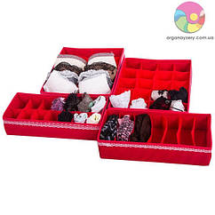 Комплект органайзеров для дома (для белья) 4 шт (кармен)
