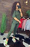 """Жіночий стильний костюм хакі: """"Змійки"""": футболка з блискавками збоку і штани, фото 3"""