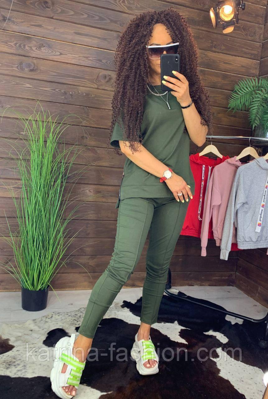 """Жіночий стильний костюм хакі: """"Змійки"""": футболка з блискавками збоку і штани"""