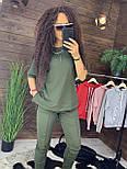 """Жіночий стильний костюм хакі: """"Змійки"""": футболка з блискавками збоку і штани, фото 4"""