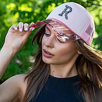 Жіноча рожева бейсболка 3333 з прозорим козирком