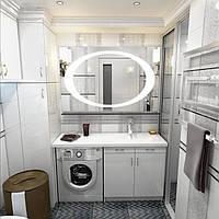 Зеркало для ванной комнаты с LED подсветкой 900*700 с рисунком D31 включателем кнопкой