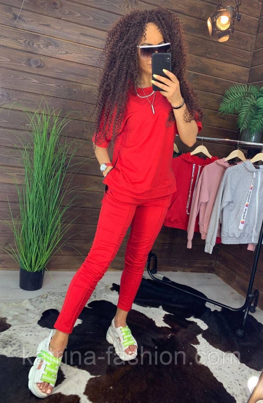 """Жіночий стильний костюм червоний: """"Змійки"""": футболка з блискавками збоку і штани"""