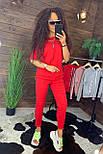 """Жіночий стильний костюм червоний: """"Змійки"""": футболка з блискавками збоку і штани, фото 4"""