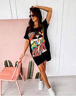 Яркое модное летнее женское платье с рисунком - накаткой, черный