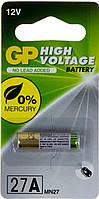 Батарейка GP Алкалайн 12.0V 27A-U1 A27 MN27/1bl для авто сигнал.(1)