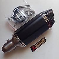 Прямоточный мото глушитель 31 см прямоток диаметр 38/51 мм Akrapovic карбон
