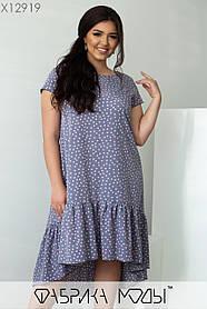 Повседневное платье свободного кроя из легкого софта в мелкий горох, размера Размер 50, 52, 54, 56