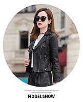 Женская кожаная куртка косуха. Модель 2055, фото 6