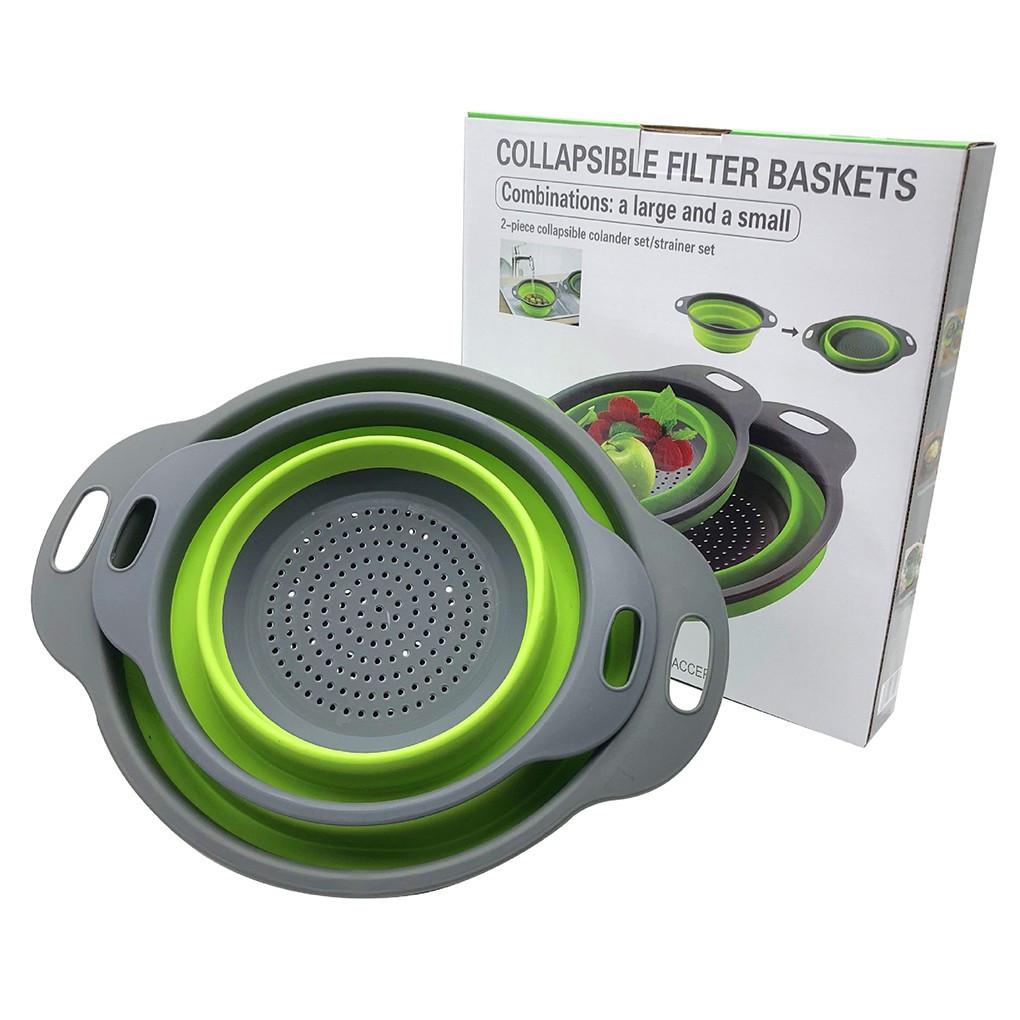 Друшлаг силиконовый складной большой + маленький Collapsible filter baskets (2шт в комплекте)