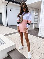 Яскраве модне літнє жіноче плаття, біло-рожевий